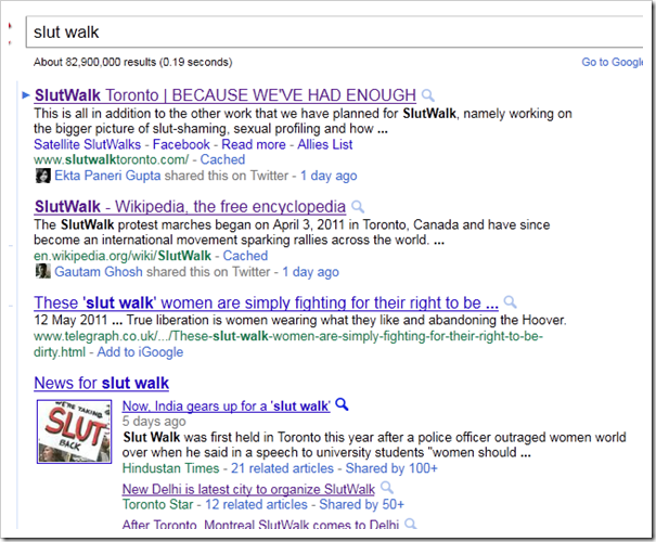 google slut walk
