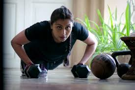 Shivani Shivaji Roy working out, ignoring her husband's request to give him eye drops.