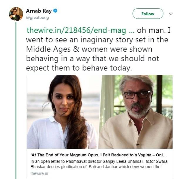 arnab ray tweet about swara bhaskar